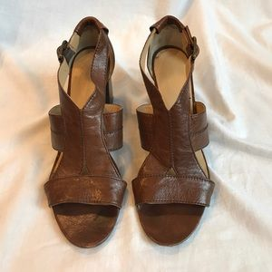 Nine West Brown Leather Chunky Heel Sandals