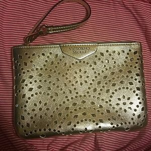 Victoria's Secret Gold Metallic Wristlet Clutch