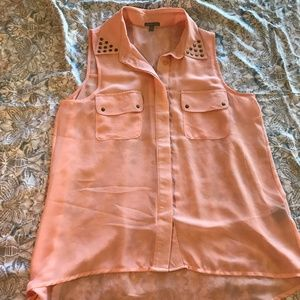 Charlotte Russe Peach Pink Studded Button Up Tank