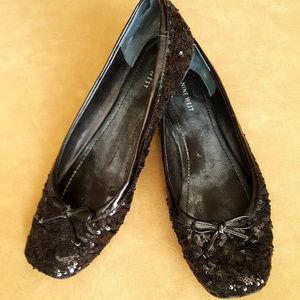 Sequin black flats
