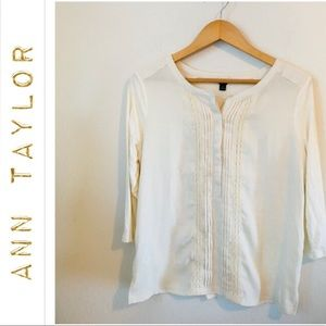 Ann Taylor cream color bib front shirt