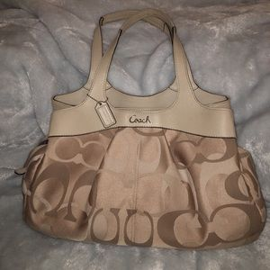 Coach beige fabric bag