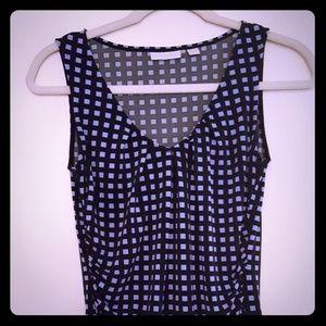 NY&Co Blue square dress blouse