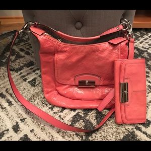 Coach pink patent shoulder/crossbody bag, wallet