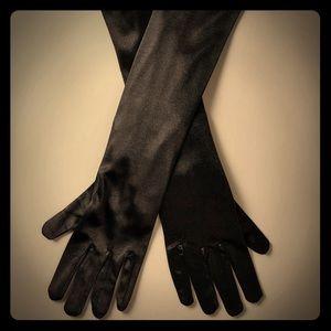 Accessories - Black Satin Long Gloves