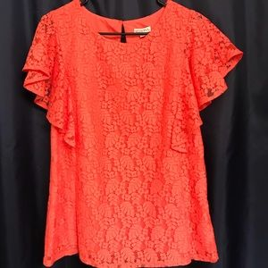 Coral Lace Top.