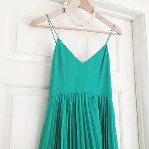 • asos • green midi dress pleated