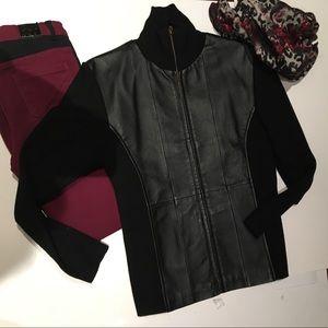 💯 Gorgeous Leather Paneled Cardigan