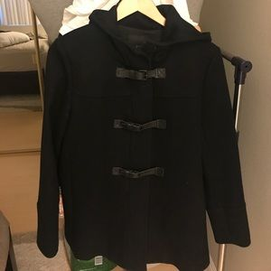 Theory leather buckle black coat size M