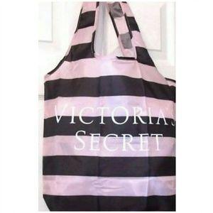 Victoria's Secret VS Black-Pink Stripe Tote ☆New