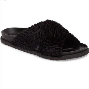 TOPSHOP Harissa Textured Faux Fur Slide Sandal