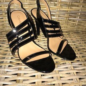 EUC Black Calvin Klein Patent Strappy Heels