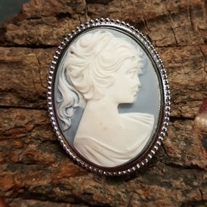 Vintage White on Blue Cameo Brooch