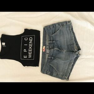Jean shorts and cute festival tank top