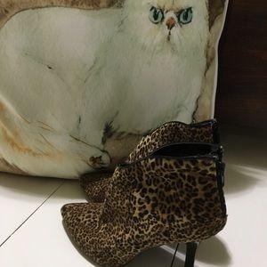 Leopard heeled booties