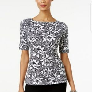 Karen Scott MockNeck Floral Print Elbow Sleeve Top