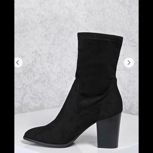 Faux suede sock boots.