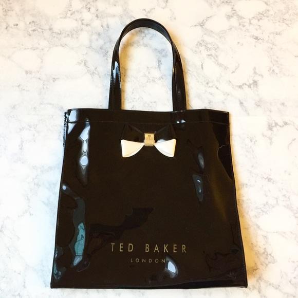 0ad844f94db04 Large Ted Baker London black glossy tote purse bag.  M 59ed4241eaf03038e30b1dcc