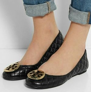 Tory Burch quilted black flats size 8