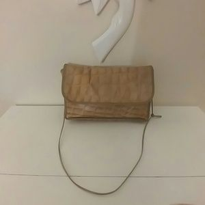 Carlos Falchi vintage taupe-gray flap bag