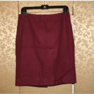 J. Crew Burgundy Double Serge Wool Pencil Skirt 4