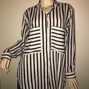 Zara Basic Black & White Striped Blouse w/Pockets