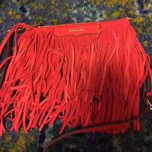Rebecca Minkoff red fringed cross body bag