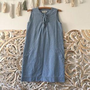 Madewell Chambray Lace Up Shift Dress