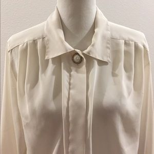 Vintage Cream Button Down with Pearl Top Button