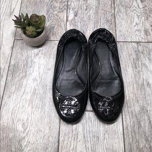 Tory burch black patent leather reva flats