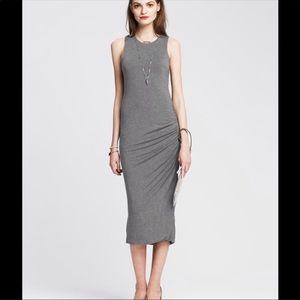 Banana Republic Grey Ruched Jersey Long Dress