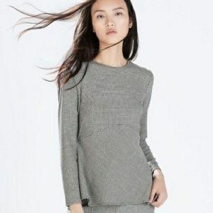 Zara Woman Houndstooth Peplum Blouse