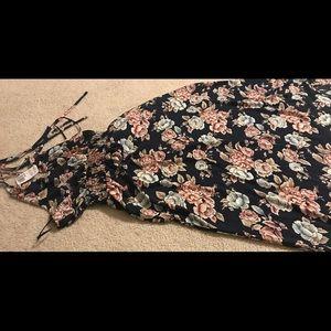 Long floral halter dress