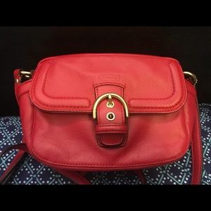 Coach red Campbell leather cross shoulder bag