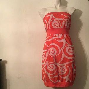Old Navy printed bubble hem strapless dress
