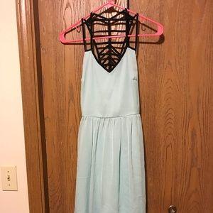 Light blue high-low dress