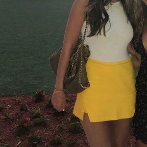 Zara | Yellow Mini Skirt with Slits | Size S