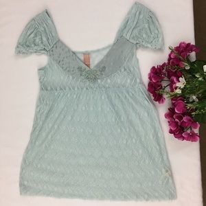 Free People Blue Floral Lace Short Sleeve Blouse