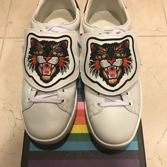 c26ba6823 Gucci Shoes | New Ace Sneakers With Lion Patch Size 385 | Poshmark