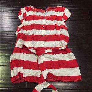 Tommy Hilfiger red white striped top belt sz m