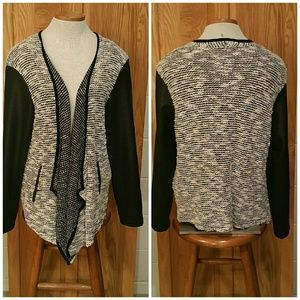Faux leather draped cardigan. Size Lg.