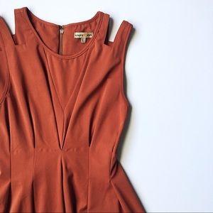 Burnt Orange Fit and Flare Box Pleat Dress