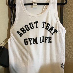 """VS PINK """"ALL ABOUT THAT GYM LIFE"""" GYM TANK."""