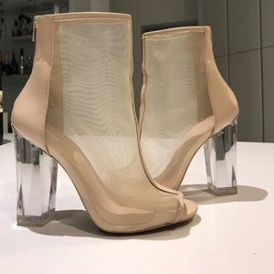 Steve Madden mesh clear Yoania ankle boots booties