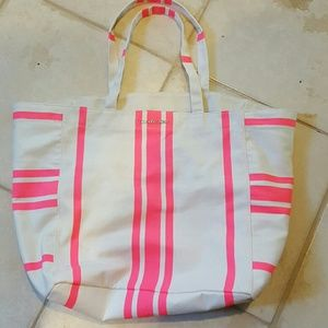 Victoria's Secret Pink White Tote Beach Bag