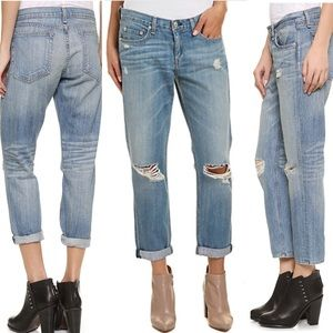 Rag & Bone/Jean Low-Rise Distressed Denim Jeans