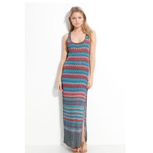 HAUTE HIPPIE Rayon Chevron Stripe Maxi Dress