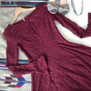 FREE PEOPLE • lace long sleeve dress in plum
