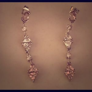 Elegant White & Pink Stoned Earrings