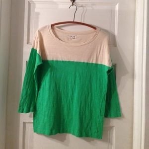 Madewell green and cream colorblock 3/4 sleeve top